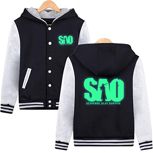 ELEFINE Boys Men's SAO Fleece Thick Hoodies Sword Art Online Cosplay Button Jacket Halloween Baseball Uniform Glowing XL]()