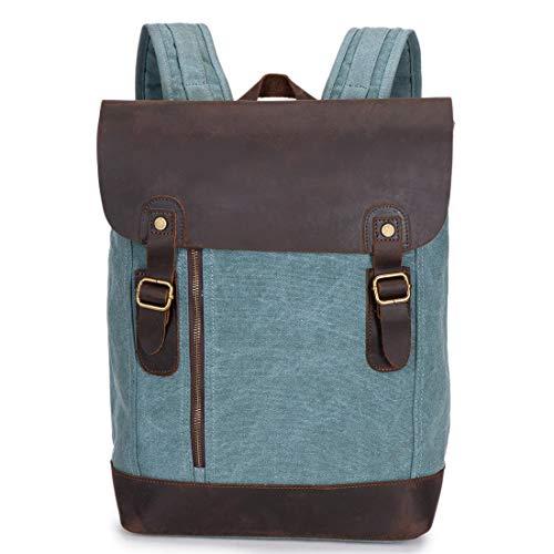 Yammucha Herrenrucksack Daypack Waterproof Vintage Zipper Canvas Student Shopping im Freien (Farbe   Blau)