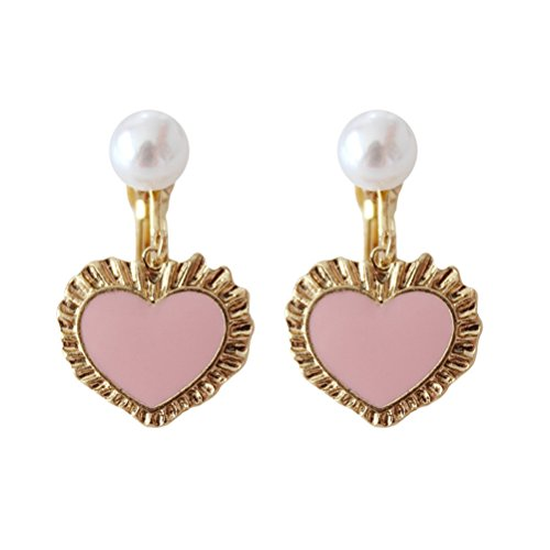 Screw Back Clip on Earring Clip for No Piercing Enamel Heart Simulated Pearl Gold Plated for Teens Pink (Earrings Rhinestone Back Screw Pink)