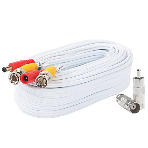 BNC Video Power Cable 50 Feet Pre-made All-in-One Video Security Camera Cable Wire with two Connectors for CCTV DVR Surveillance System