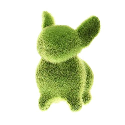 Adarl Green Artificial Moss Turf Grass Animal Ornament,Furry Flocked Rabbit for Home Office Decor(1pc)