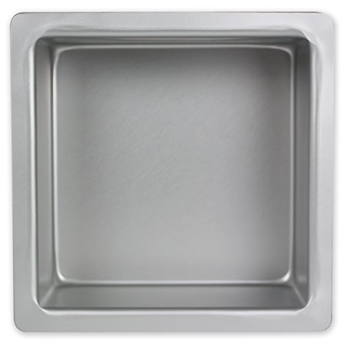 PME Square 6'' x 6'' x 3'' Seamless Professional Aluminum Baking Pan, Silver by PME