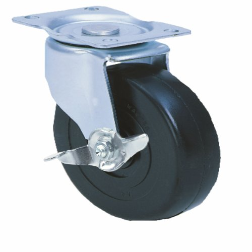E.R. Wagner Cart & Tool Box Plate Caster, Pinch Brake, Swivel with Brake, Soft Rubber on Hard Rubber Wheel, Roller Bearing, 350 lbs Capacity, 5'' Wheel Dia, 2'' Wheel Width, 6'' Mount Height, 3-3/4'' Plate Length, 2-3/4'' Plate Width by ER Wagner