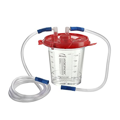 Bemis Healthcare 438410 Bemis Healthcare Quality Medical Products 1200CC Hydrophobic Hospital Grade Suction Canister, with 18'' and 6' Tubing - Product Number : #438410