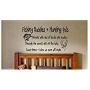Fishing Buddies and Hunting Pals - Boys Nursery Bedroom Wall Sign Vinyl Decal (Brown, 22 inch wide x 12 inch tall)