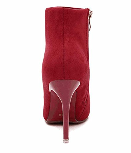 Rouge Red Femmes Gris Pointu Bottillons LINYI Toe Suede Stiletto Talons Violet 4wqM68v5