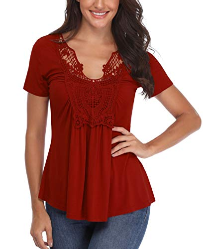 Sexy Shirts for Women V Neck Peasant Blouse Short Sleeve Ruched Front Crocheted Lace Neckline Tops Wine ()