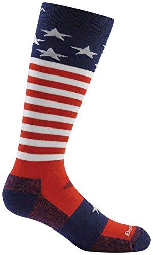 Darn Tough Merino Wool Captain Stripes Jr. Over-The-Calf Ultra-Light Socks - Stars & Stripes, Large ()