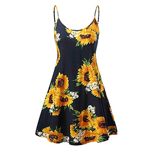 TWGONE Sunflower Dresses for Women Casual Summer Vintage Printed Sleeveless Strappy Beach Swing Camis Dress(Small,Black)