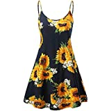 TWGONE Sunflower Dresses for Women Casual Summer Vintage Printed Sleeveless Strappy Beach Swing Camis Dress