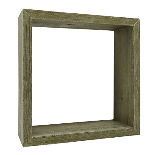 Distressed Wood Display Cube, Small Decorative Shelf/Wall Décor, Gray, 6 Inch
