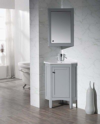 Corner Bathroom Vanity Cabinet - Stufurhome TY-650GY Modern Monte Corner Bathroom Vanity with Medicine Cabinet, Grey, 25