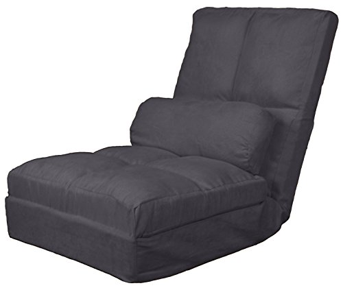 - Cosmo Click Clack Convertible Futon Pillow-Top Flip Chair Child-size Sleeper Bed, Microfiber Suede Slate Grey