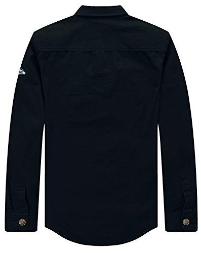 WenVen Men's Long Sleeve Work Shirt(Navy,Medium)