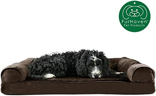 Furhaven Pet Dog Bed Orthopedic Plush Faux Fur Suede Sofa-Style Traditional Living Room Couch Pet Bed w Removable Cover for Dogs Cats – Available in Multiple Colors Styles