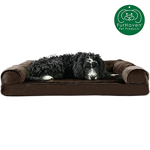 Furhaven Pet Dog Bed | Orthopedic Ultra Plush Faux Fur & Suede Traditional Sofa-Style Living Room Couch Pet Bed w/ Removable Cover for Dogs & Cats, Espresso, Large