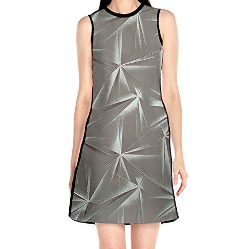 Women¡¯s Sleeveless Scuba Sheath Dress Leaves Abstract Print Casual/Party/Wedding Dress S White