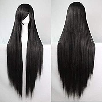 Mujeres Ladies Girls 100cm Negro Color de larga recta pelucas de alta calidad Carve pelo del partido de Cosplay del Anime del traje Bangs completa Sexy ...