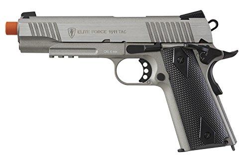 Umarex Elite Force 1911 Blowback CO2 Powered 6mm BB Pistol Airsoft Gun, Silver/Black, 1911 TAC