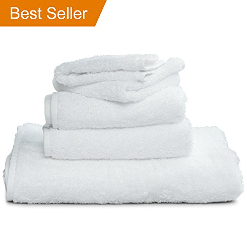 White Supima Bath Towels (30 x 60'') - Large Luxury Towel Features Sewn-In Loop To Hang From Hook - Made of 100% USA Grown Cotton by Winter Park Towel Co. - OEKO-TEX Certified by Winter Park Towel Co.