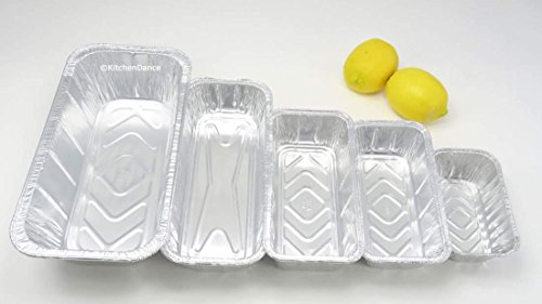 KitchenDance Disposable Aluminum Foil Loaf Pan Variety Pack  1 lb  - 1-1/2  lb  - 2 lb  - 3 lb  and 5 lb  size  10 of each size for 50 total