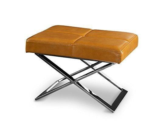 Bauhaus taburete, beistellhocker, taburete, taburete, x-pie ACERO inox. pulido. Imagen en (CUERO NATURAL MARRÓN C