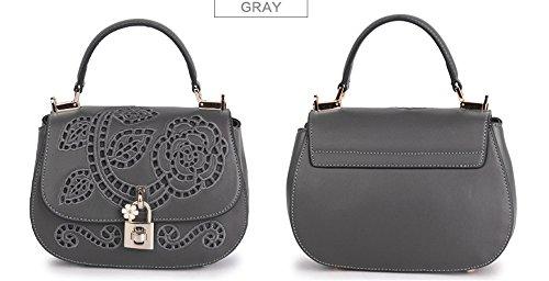 La mujer Xinmaoyuan bolsos de cuero Bolsos de cuero de vaca Mini Bolsa BORDADO Bordado bolsos retro, gris Gris
