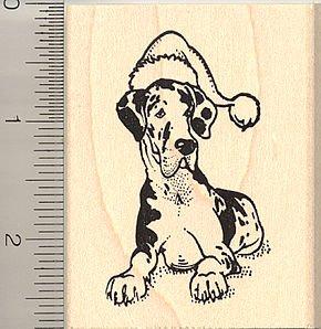 Harlequin Santa (Santa Hat Harlequin Great Dane Rubber Stamp - Wood Mounted)