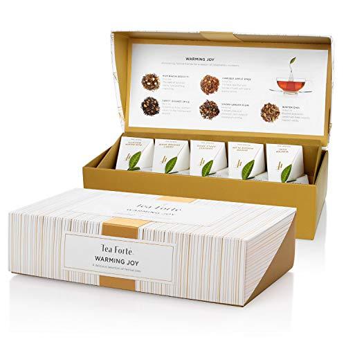 Tea Forté WARMING JOY Petite Presentation Box Tea Sampler Gift Set, Assorted Variety Tea Box, 10 Handcrafted Pyramid Tea Infuser Bags with Black Tea & Herbal Tea Winter Holiday Blends - Seasonal Fruit Assorted Small Basket