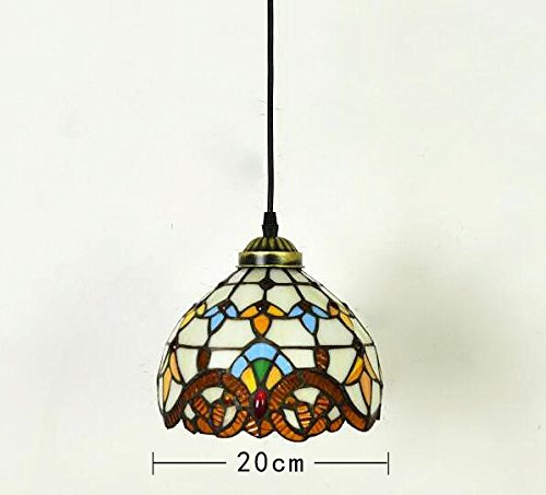 ANYE Tiffany Style Colorful Chandelier Handmade Crystal Glass Pendant Lamp Ceiling Fixture With 15ft UL Dimmable Cord Bulb Not Included TB0204-TL