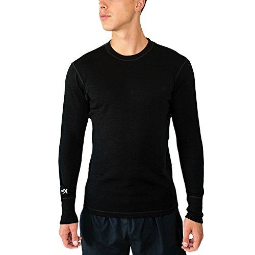 Woolx Explorer - Men's Midweight Merino Wool Baselayer Top - 100% Merino Wool Crew, Medium, Black (Midweight Underwear Top)