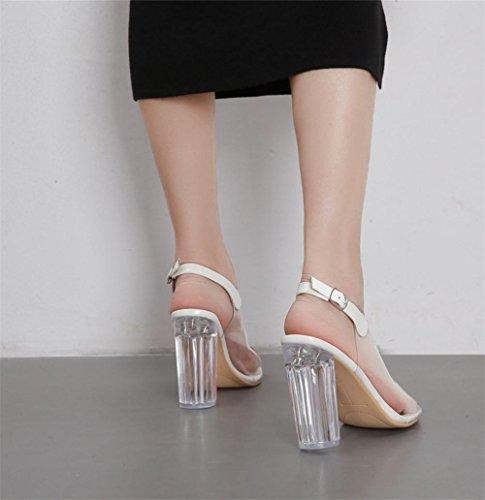spessore Lavoro Cinghia Trasparente Fibbia Festa Discoteca Nero UK Sexy Donna Caviglia Scarpe PVC Di Cristallo alto 35 Vestito 3 Tacco in trasparente Sandali EUR fxAnw4qa8