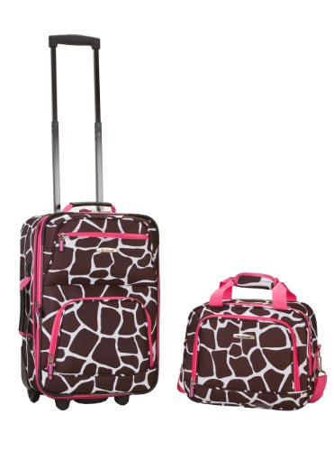 2 Giraffes (Rockland Luggage 2 Piece Set, Pink Giraffe, Medium)