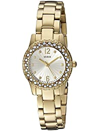 GUESS Women's U0889L2 Petite Gold-Tone Watch with Silver Dial , Crystal-Accented Bezel and Stainless Steel Pilot Buckle