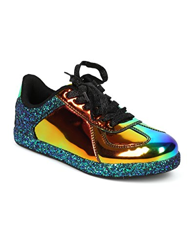 Alrisco Women Glitter Encrusted Holographic Lace Up Lage Top Sneaker - Hf70 Door Qupid Collection Black Hologram Mix Media