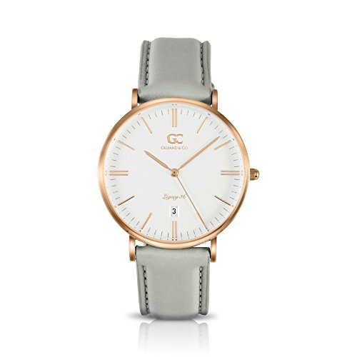 Gelfand & Co. Women's Minimalist Watch Light Gray Leather Chrystie 36mm Rose Gold with White Dial