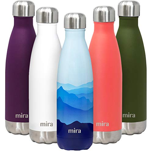 MIRA 17 Oz Insulated Reusable Water Bottle | Stainless Steel Double Walled Vacuum Insulated Cola Shape Thermos Flask | 24 Hours Cold, 12 Hours Hot | Cap | Metal Sports Bottle | Blue Mountain