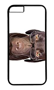 MOKSHOP Adorable Dog with Glasses Hard Case Protective Shell Cell Phone Cover For Apple Iphone 6 (4.7 Inch) - PC Black