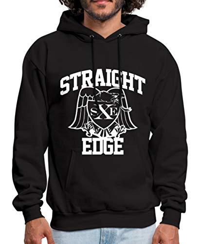 Spreadshirt Straight Edge Men's Hoodie, L, Black
