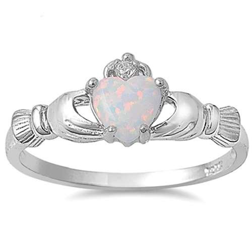 Irish Claddagh Lab Created White Opal Ring Sterling Silver Sizes 3-13 (13)