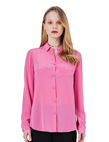Silk Blouses For Women 100 Silk Blouse Long Sleeve Ladies Mulberry Silk Button Down Shirt With Single Pocket (XL, Hot (One Button Silk Blouse)