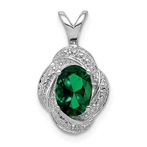 (925 Sterling Silver Diamond Created Green Emerald Pendant Charm Necklace Set Birthstone May Fine Jewelry Gifts For Women For Her)