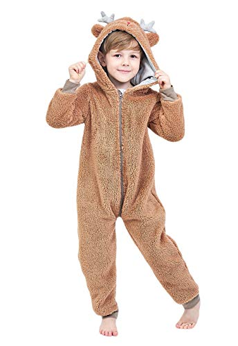 Anna King Kids Animal One-Piece Pajamas Costume Hooded Cosplay Onesies Plush Sleepwear for Girls & Boys Bear Size 4 ()