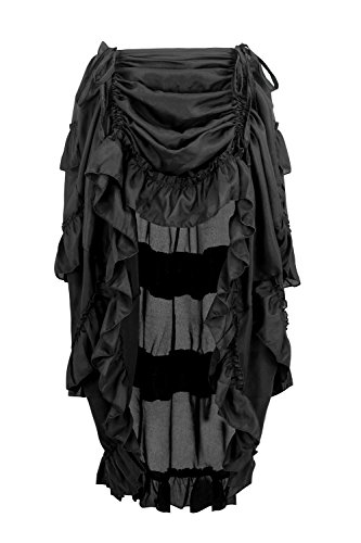 Charmian Women's Steampunk Gothic High Low Ruffle Cyberpunk Skirt Black (Halloween Costume Black Skirt)