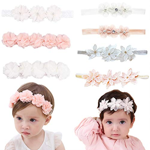 Baby Newborn Elastic Chiffon Flower Headbands Princess Girls Hand Sewing Beads Flower Headwear Nylon Head Band Aeccessories (Multicoloured QJ318) -