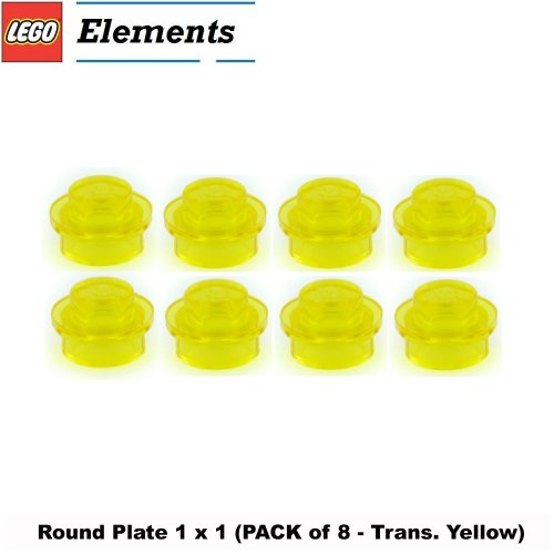 Lego Parts: Round Plate 1 x 1 (PACK of 8 - Transparent Yellow)