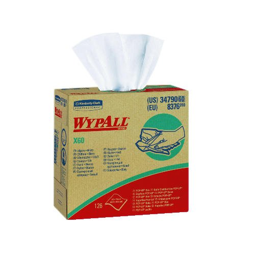 (Kimberly-Clark Wypall X60 Teri White Reinforced Wipers in Pop-up Box, 9.1 x 16.8 inch, 126 per Pack - 10 Packs per case.)