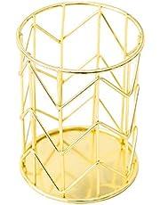 Saniswink Świąteczne materiały do dekoracji domu, okrągłe biurko metalowe pióro do makijażu uchwyt pudełko do przechowywania pojemnik organizer - złoty