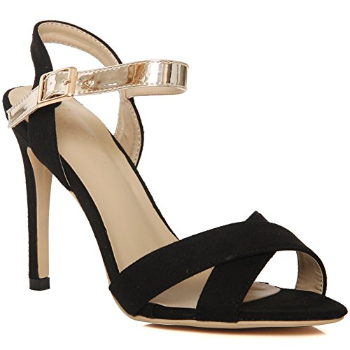 8 Sandals 'rommy' Taglia Evening Carnival Ritrova Heels Uk Nero Party Crossover Low 3 Mid Women Unze Prom Heel aw4Ppp