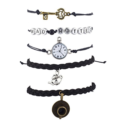 Mad Hatter Accessories (Lux Accessories Antique Mad Hatter Clock Key Tea Kettle arm Candy Bracelet 5PC)